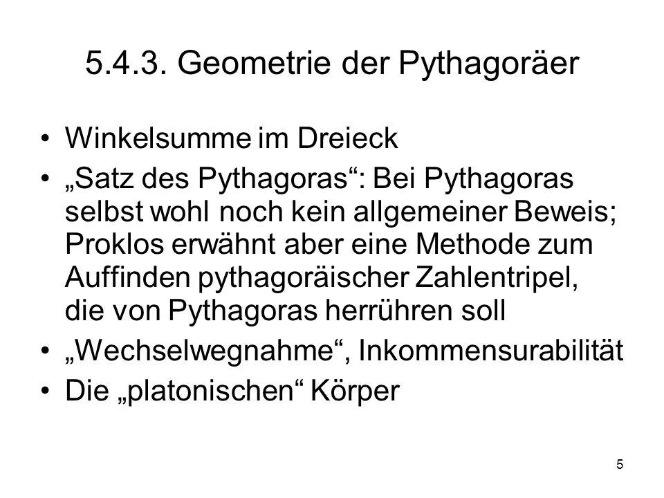 5.4.3. Geometrie der Pythagoräer