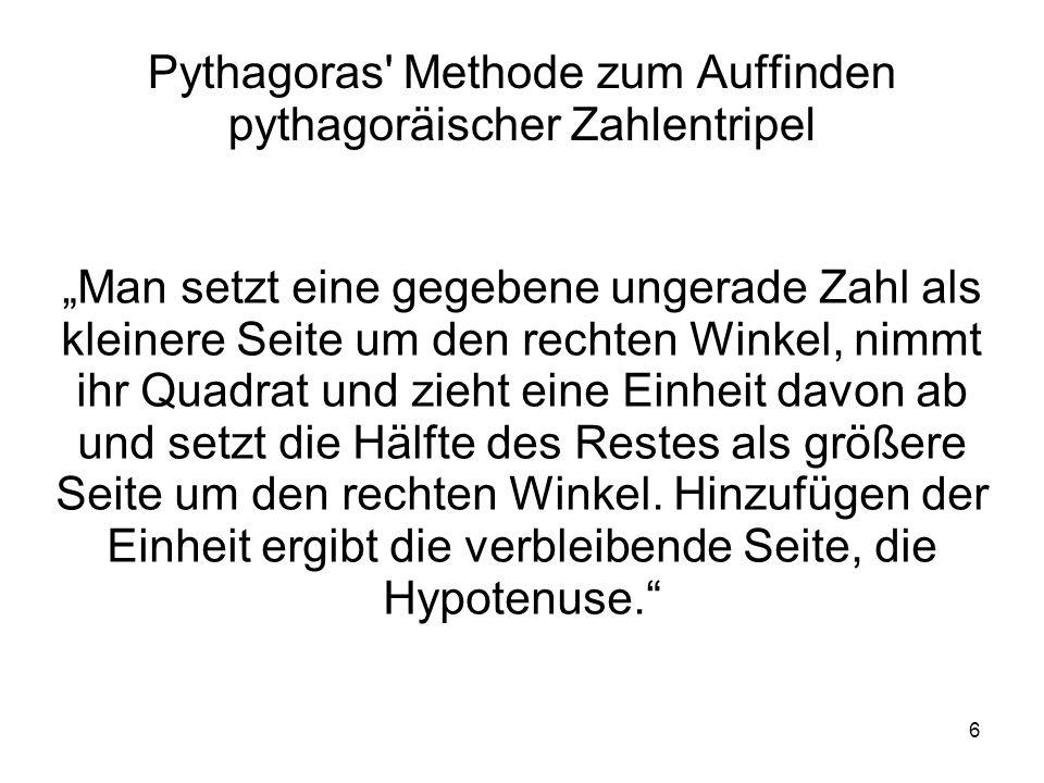 Pythagoras Methode zum Auffinden pythagoräischer Zahlentripel
