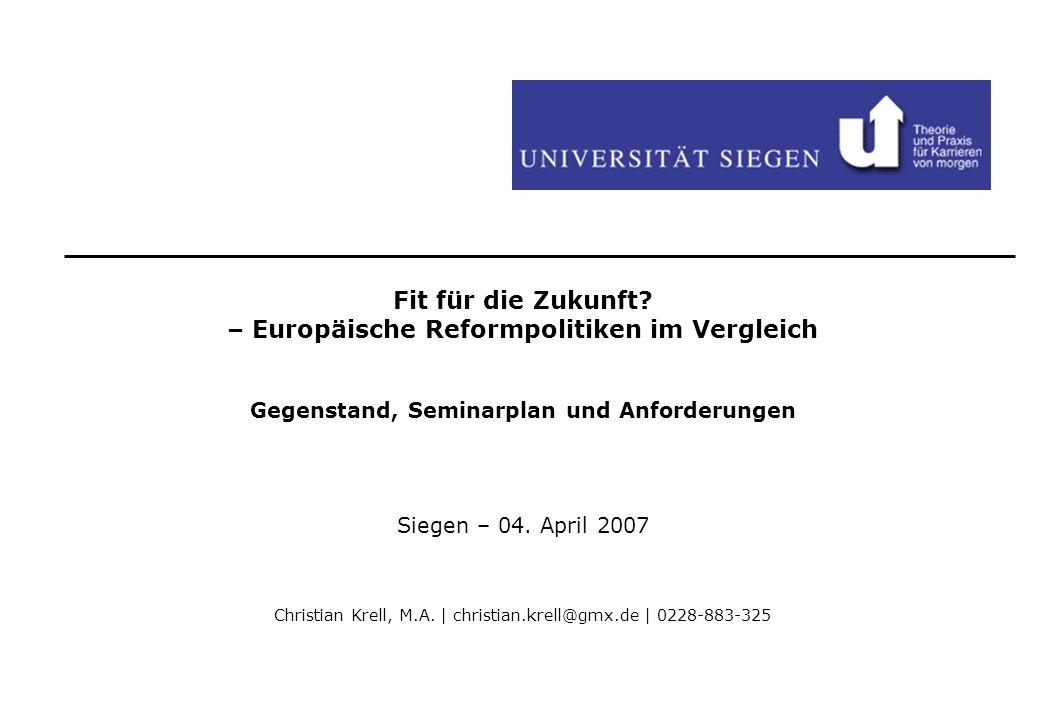 Fit für die Zukunft – Europäische Reformpolitiken im Vergleich