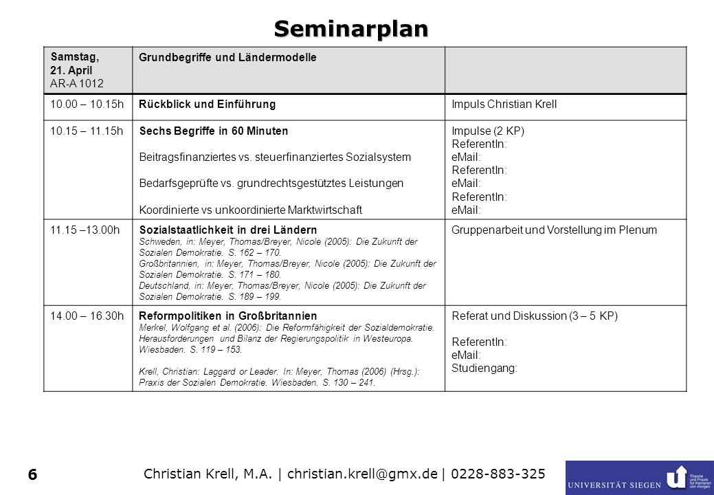 Seminarplan Samstag, 21. April AR-A 1012