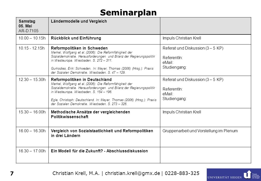 Seminarplan Samstag 05. Mai AR-D 7105 Ländermodelle und Vergleich