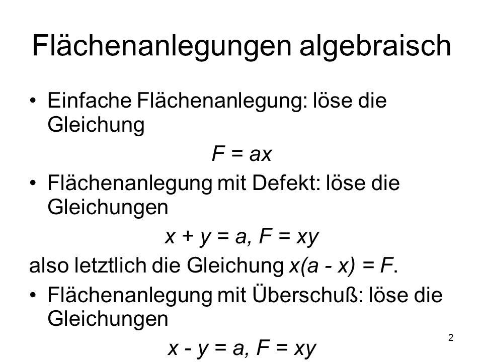 Flächenanlegungen algebraisch