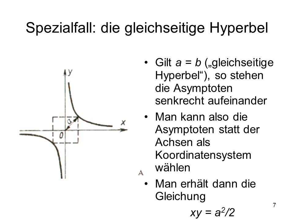 Spezialfall: die gleichseitige Hyperbel
