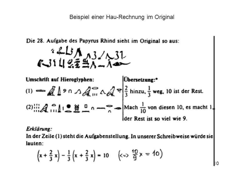 Beispiel einer Hau-Rechnung im Original