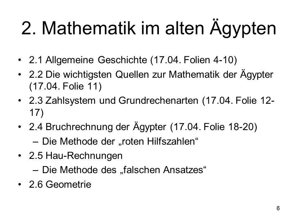 2. Mathematik im alten Ägypten