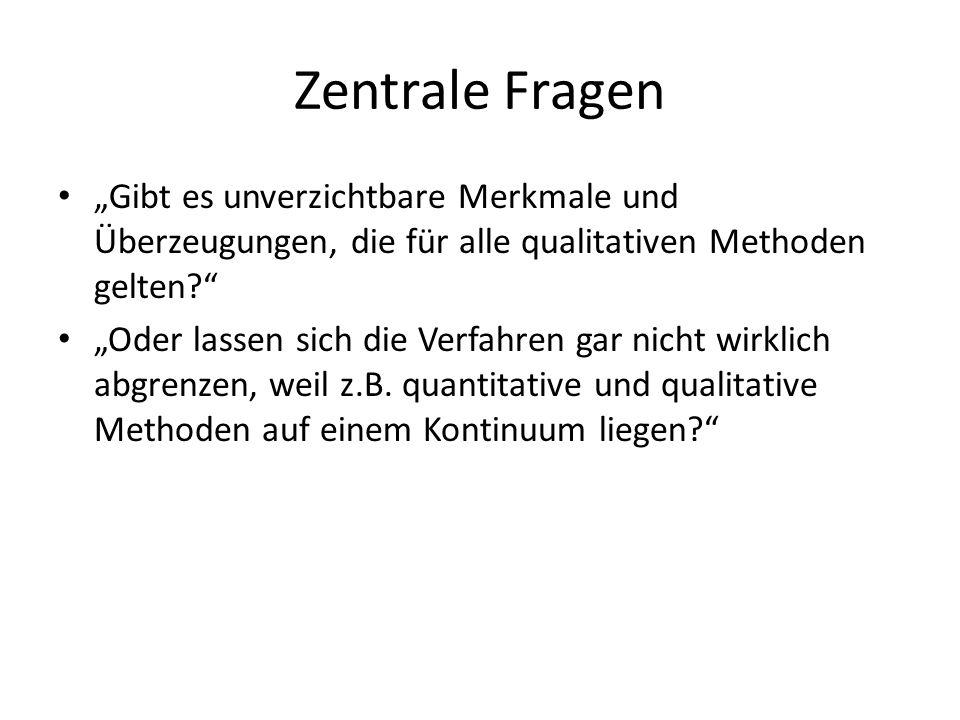 """Zentrale Fragen """"Gibt es unverzichtbare Merkmale und Überzeugungen, die für alle qualitativen Methoden gelten"""