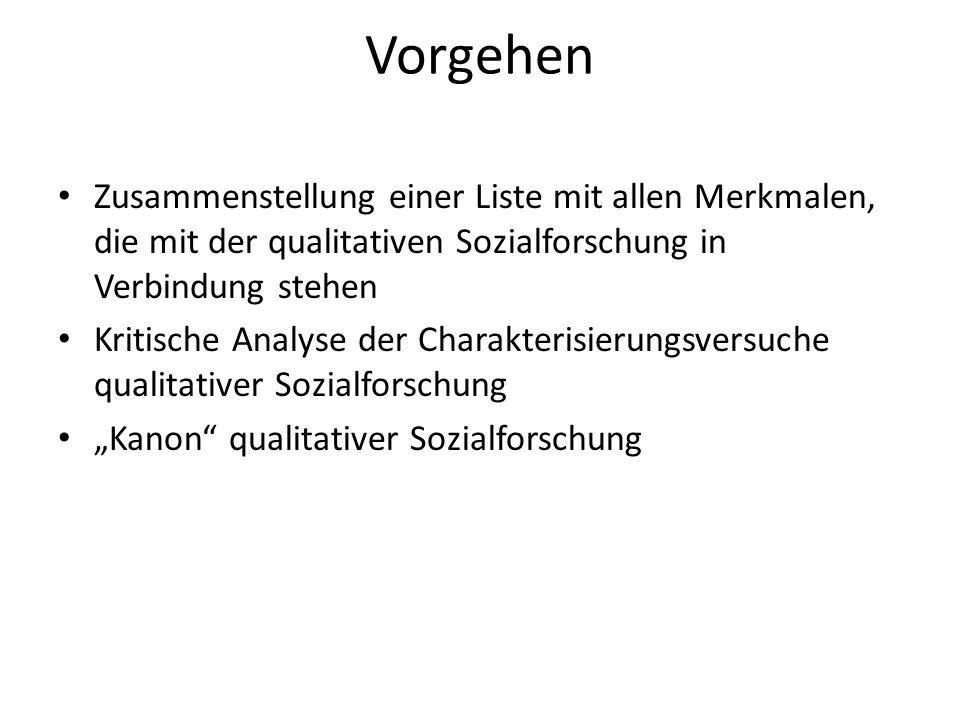 Vorgehen Zusammenstellung einer Liste mit allen Merkmalen, die mit der qualitativen Sozialforschung in Verbindung stehen.