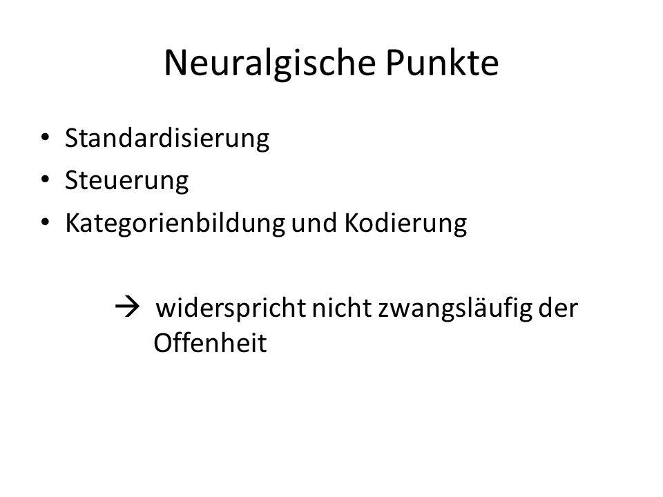 Neuralgische Punkte Standardisierung Steuerung