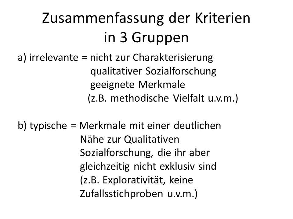 Zusammenfassung der Kriterien in 3 Gruppen