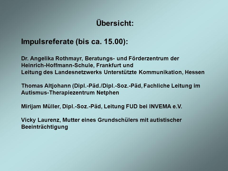 Impulsreferate (bis ca. 15.00):