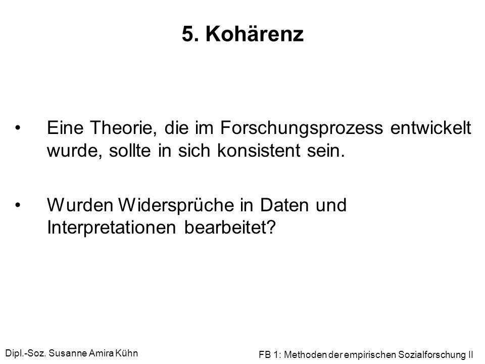 5. KohärenzEine Theorie, die im Forschungsprozess entwickelt wurde, sollte in sich konsistent sein.