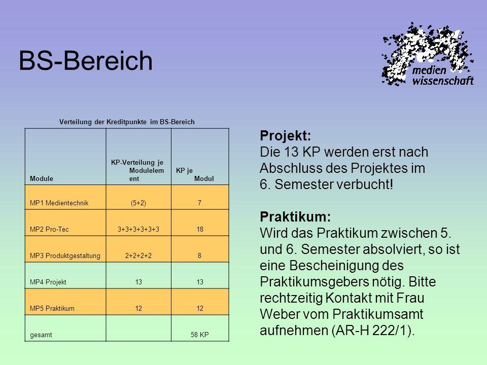 Verteilung der Kreditpunkte im BS-Bereich