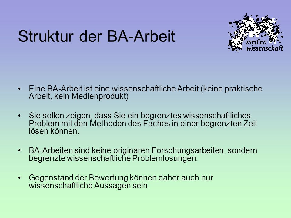 Struktur der BA-Arbeit