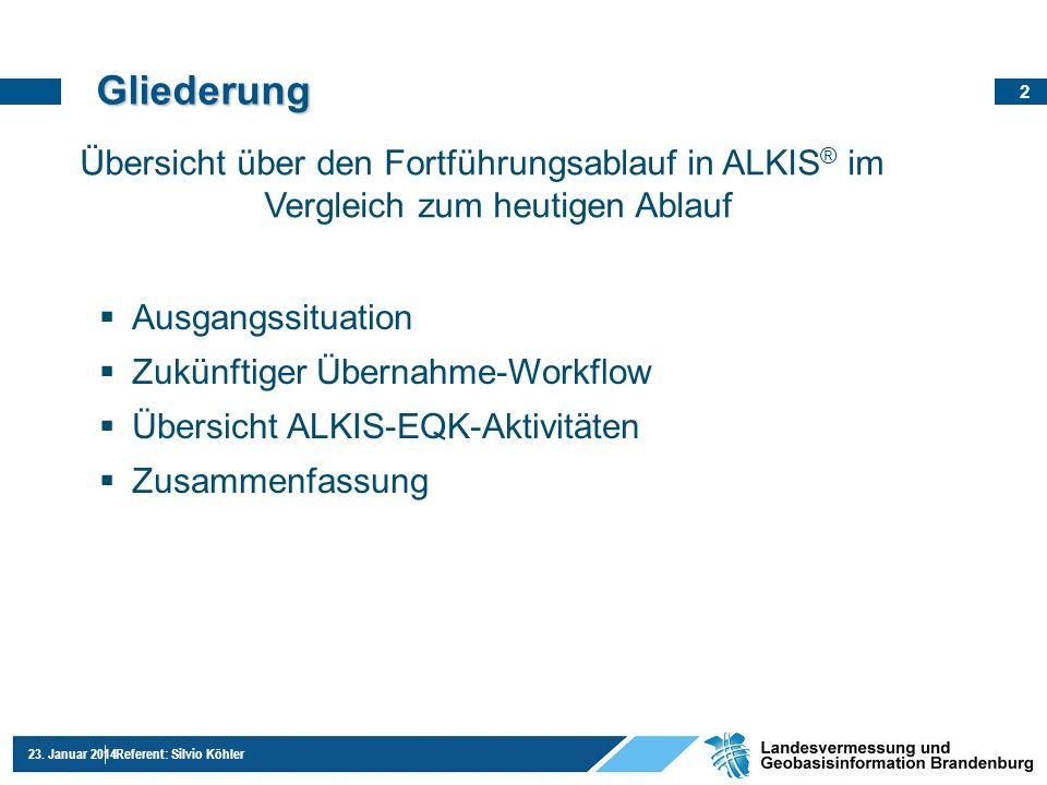 Gliederung Übersicht über den Fortführungsablauf in ALKIS® im Vergleich zum heutigen Ablauf. Ausgangssituation.