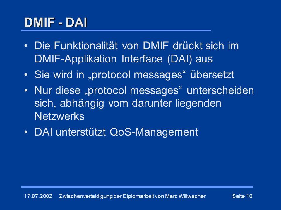 """DMIF - DAI Die Funktionalität von DMIF drückt sich im DMIF-Applikation Interface (DAI) aus. Sie wird in """"protocol messages übersetzt."""