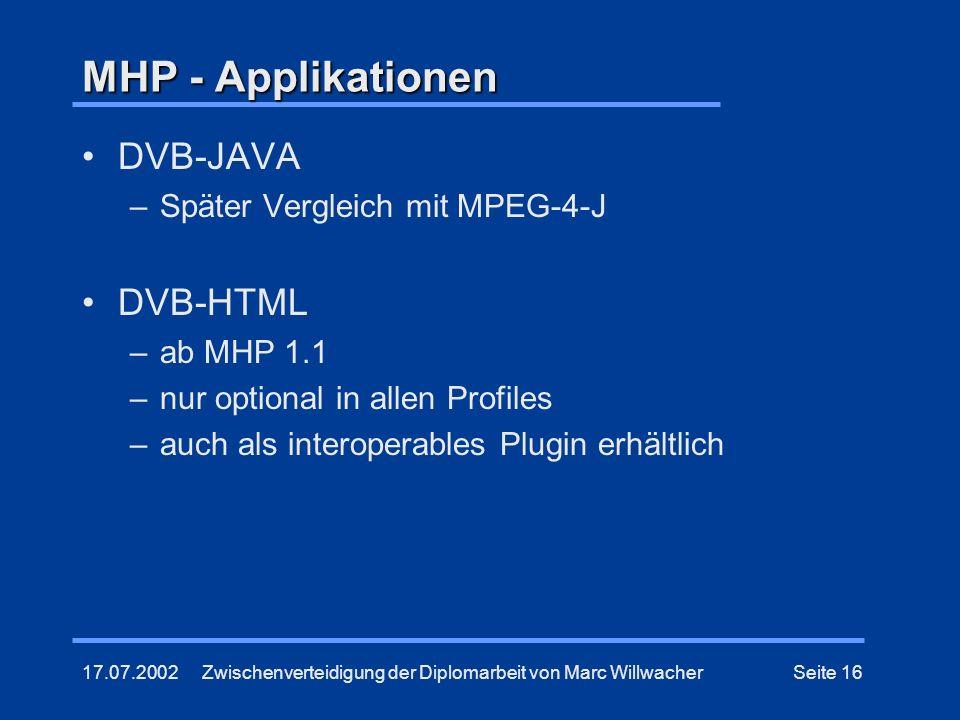 MHP - Applikationen DVB-JAVA DVB-HTML Später Vergleich mit MPEG-4-J