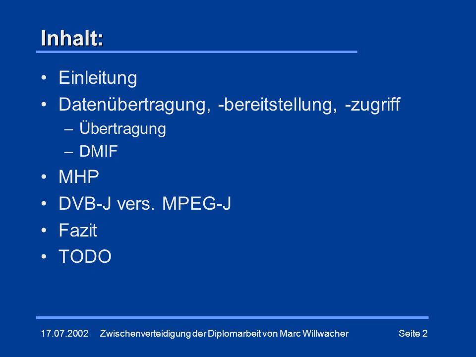 Inhalt: Einleitung Datenübertragung, -bereitstellung, -zugriff MHP
