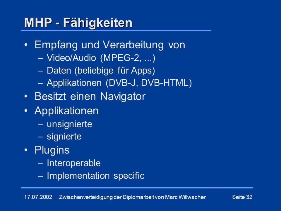 MHP - Fähigkeiten Empfang und Verarbeitung von Besitzt einen Navigator