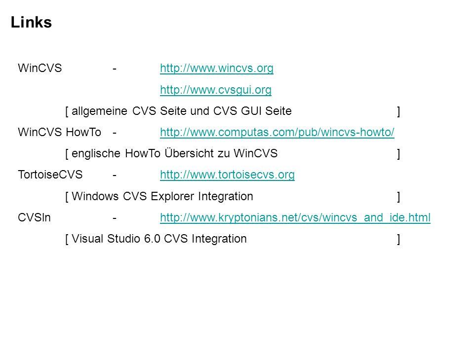 Links WinCVS - http://www.wincvs.org http://www.cvsgui.org