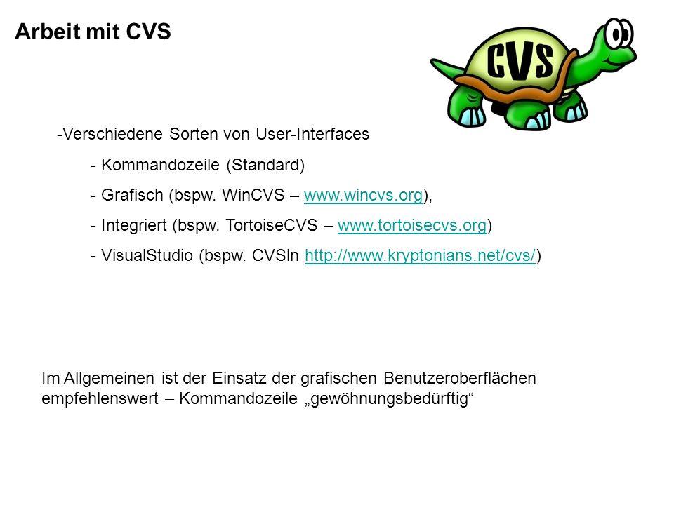 Arbeit mit CVS Verschiedene Sorten von User-Interfaces