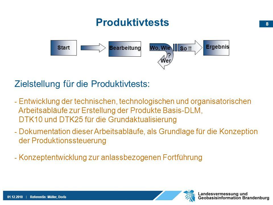 Produktivtests Zielstellung für die Produktivtests: