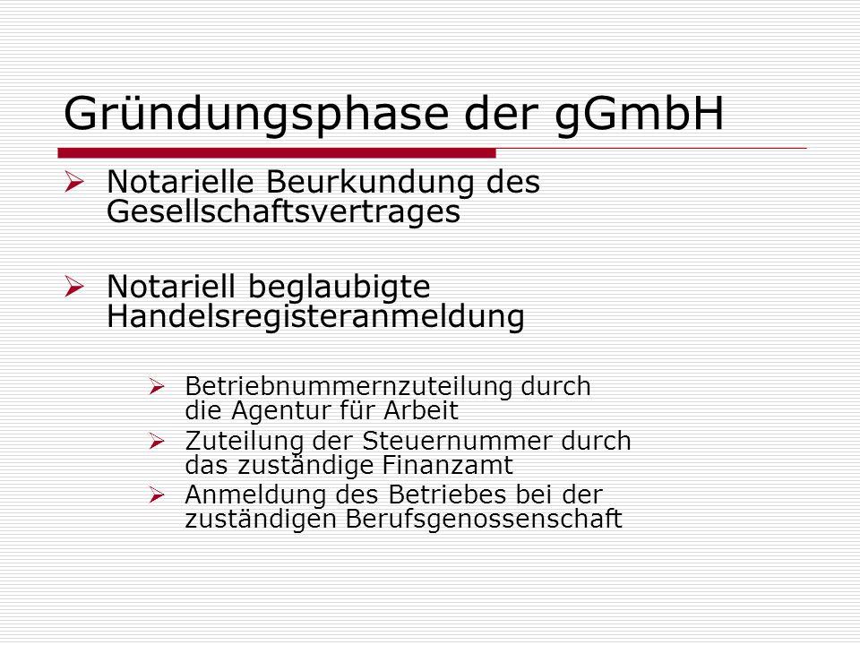 Gründungsphase der gGmbH