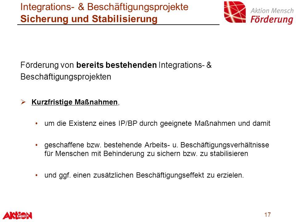Integrations- & Beschäftigungsprojekte Sicherung und Stabilisierung