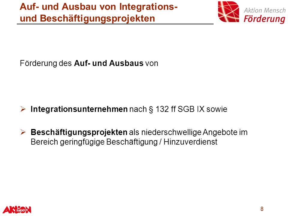 Auf- und Ausbau von Integrations- und Beschäftigungsprojekten