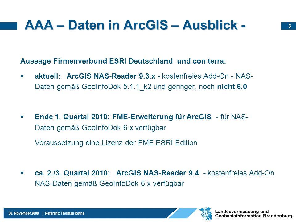 AAA – Daten in ArcGIS – Ausblick -