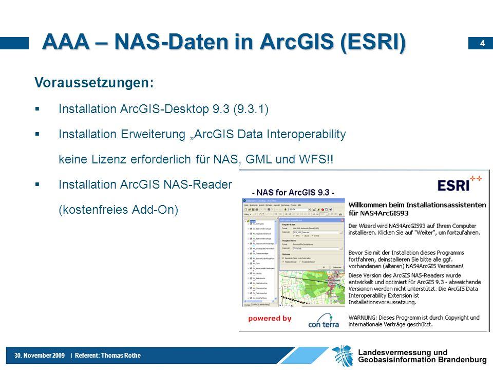 AAA – NAS-Daten in ArcGIS (ESRI)