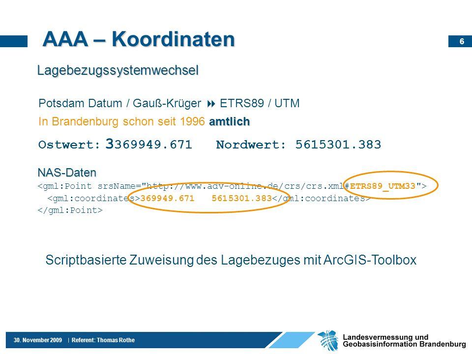 AAA – Koordinaten Lagebezugssystemwechsel