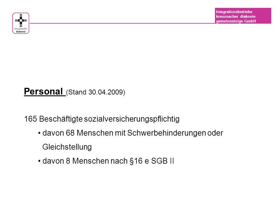 Personal (Stand 30.04.2009) 165 Beschäftigte sozialversicherungspflichtig. davon 68 Menschen mit Schwerbehinderungen oder.