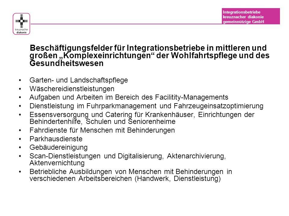 """Beschäftigungsfelder für Integrationsbetriebe in mittleren und großen """"Komplexeinrichtungen der Wohlfahrtspflege und des Gesundheitswesen"""
