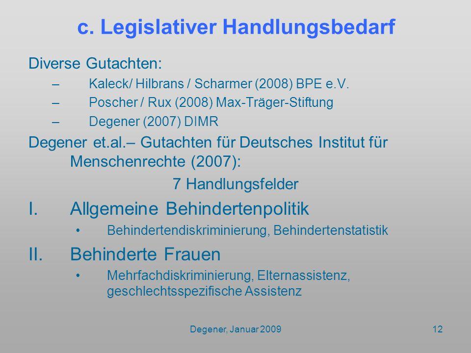 c. Legislativer Handlungsbedarf
