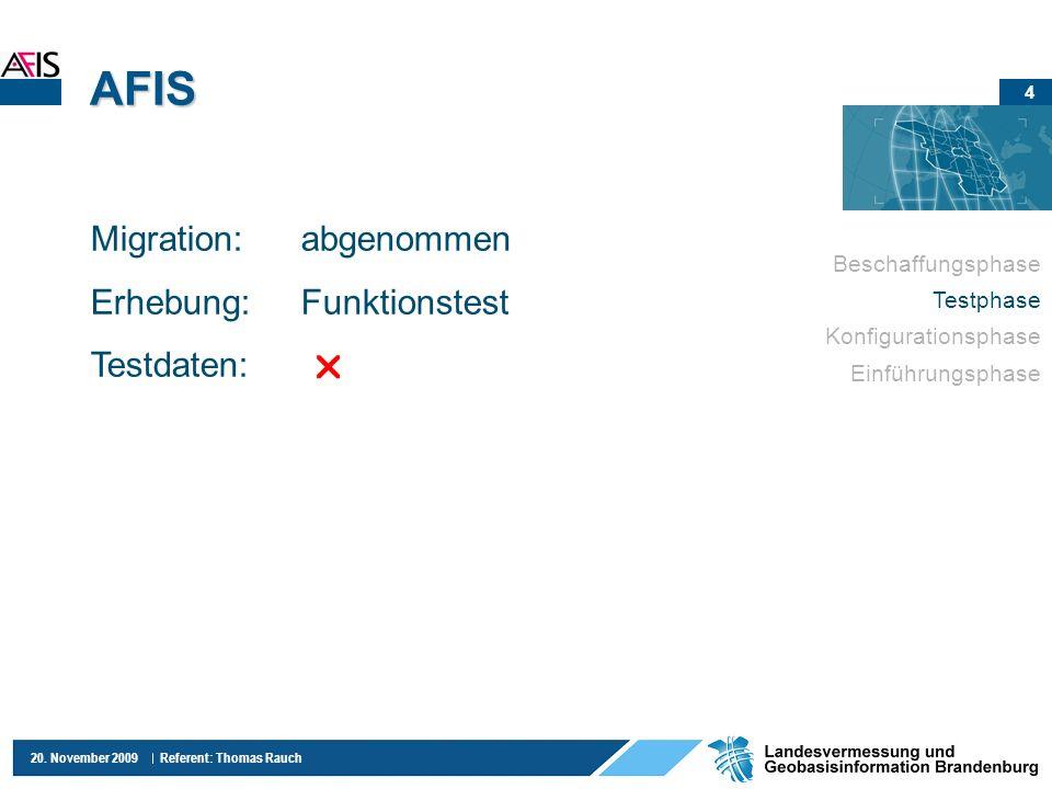 AFIS Migration: abgenommen Erhebung: Funktionstest Testdaten: 