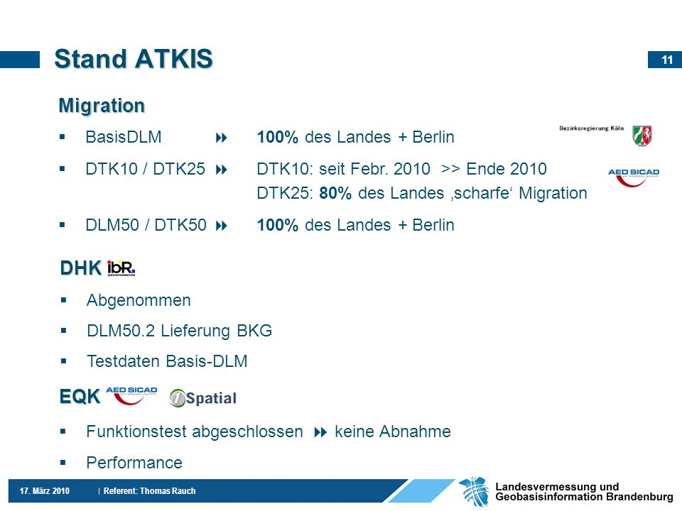 Stand ATKIS Migration DHK EQK BasisDLM  100% des Landes + Berlin