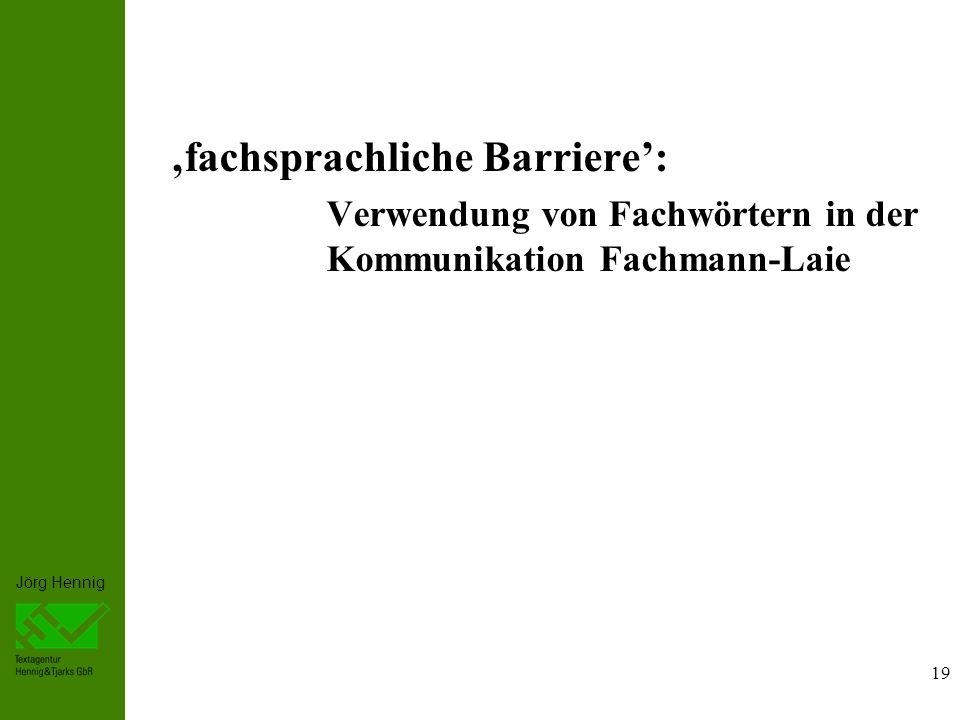 'fachsprachliche Barriere':