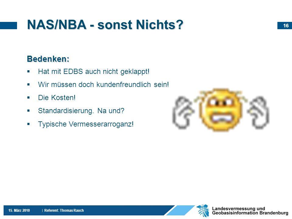 NAS/NBA - sonst Nichts Bedenken: Hat mit EDBS auch nicht geklappt!