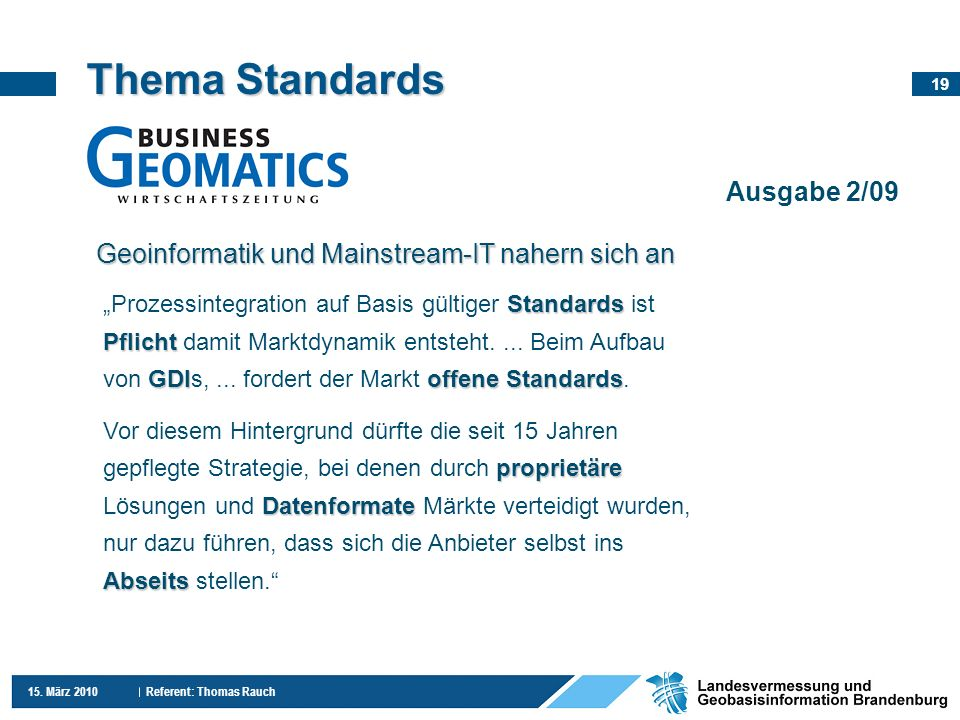 Thema Standards Ausgabe 2/09