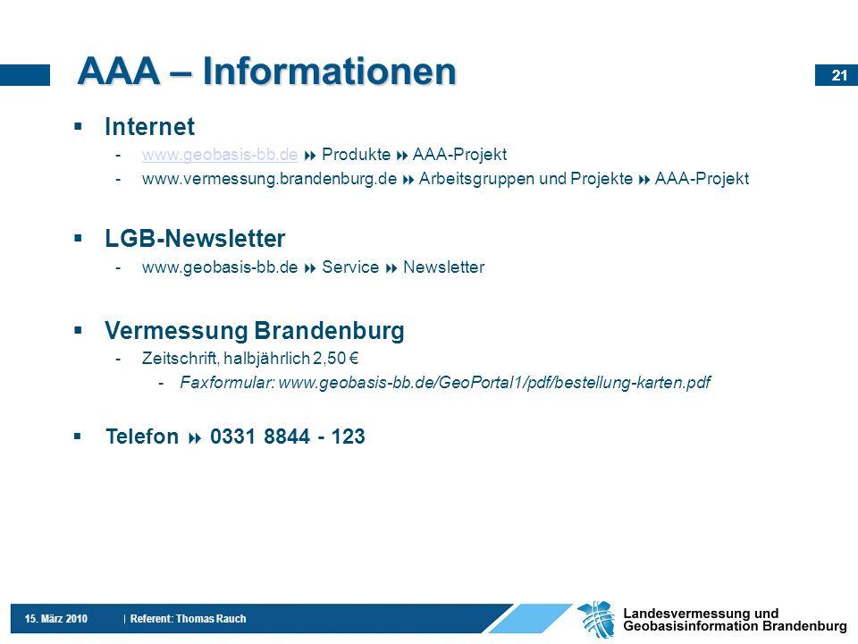 AAA – Informationen Internet LGB-Newsletter Vermessung Brandenburg