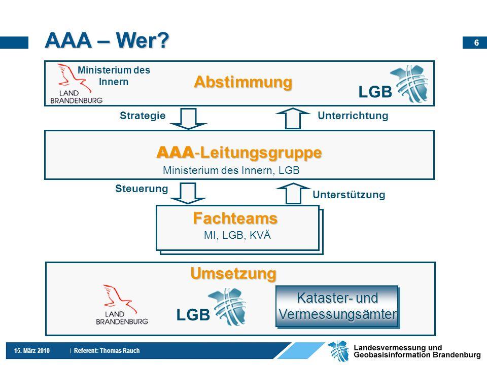 AAA – Wer Abstimmung LGB AAA-Leitungsgruppe Fachteams Umsetzung LGB