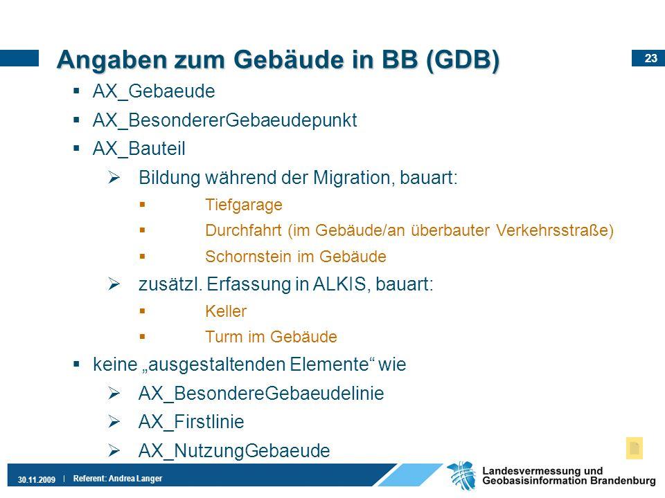 Angaben zum Gebäude in BB (GDB)