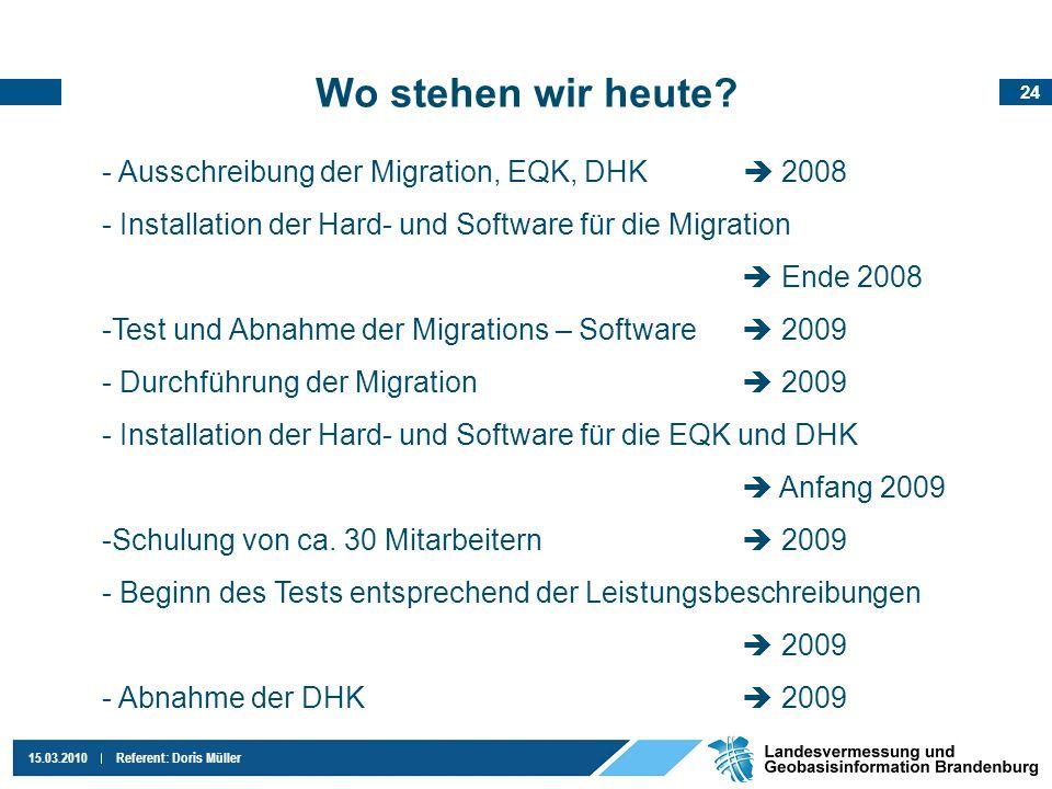 Wo stehen wir heute Ausschreibung der Migration, EQK, DHK  2008