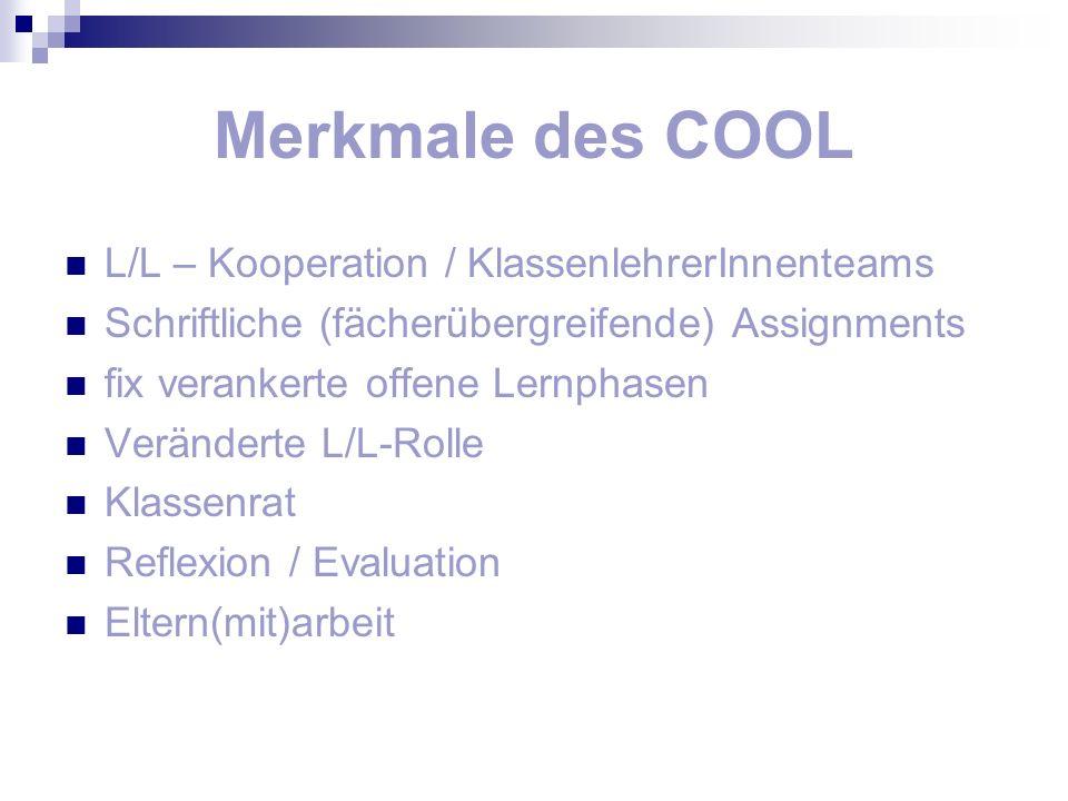 Merkmale des COOL L/L – Kooperation / KlassenlehrerInnenteams