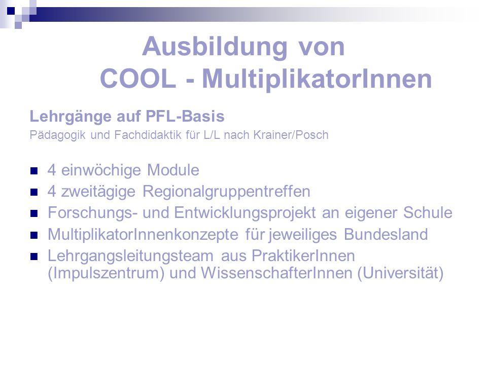 Ausbildung von COOL - MultiplikatorInnen