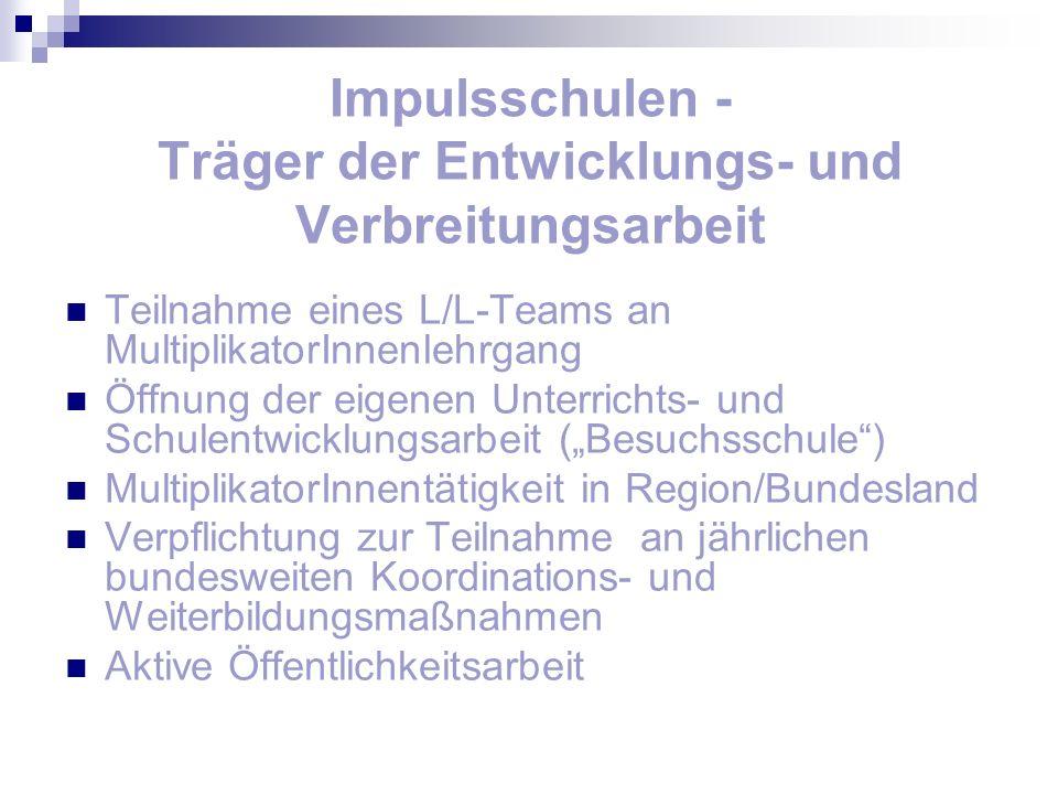 Impulsschulen - Träger der Entwicklungs- und Verbreitungsarbeit