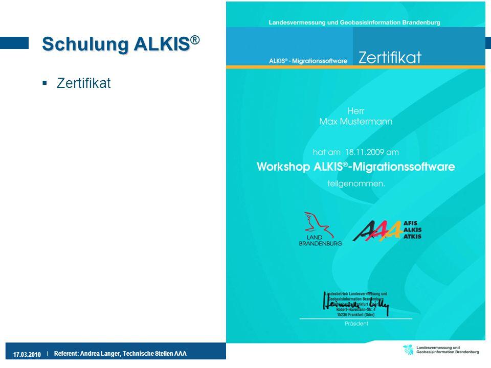 Schulung ALKIS® Zertifikat