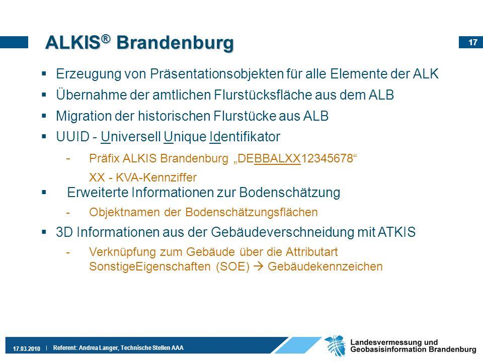 ALKIS® Brandenburg Erzeugung von Präsentationsobjekten für alle Elemente der ALK. Übernahme der amtlichen Flurstücksfläche aus dem ALB.