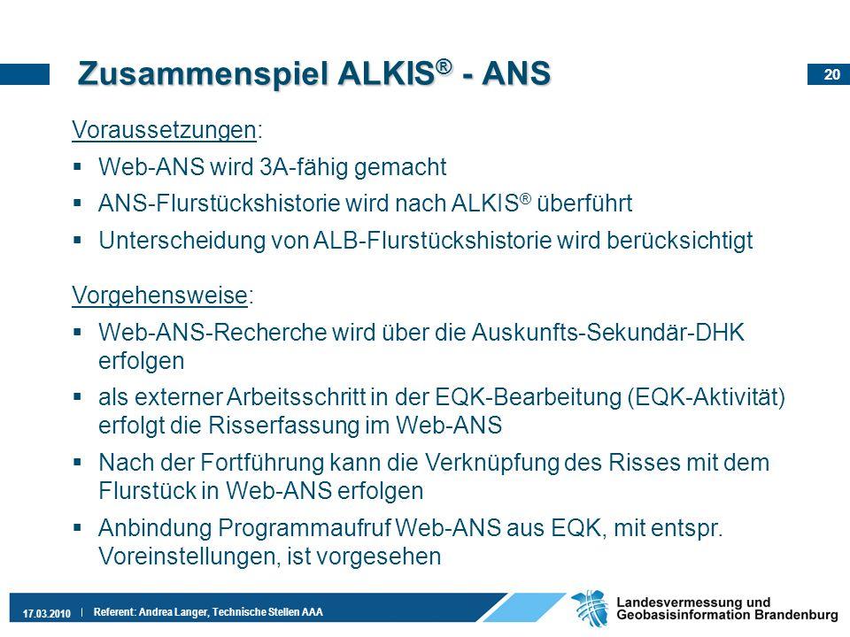 Zusammenspiel ALKIS® - ANS