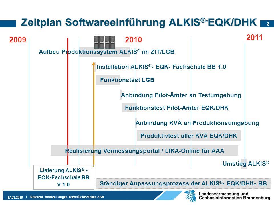 Zeitplan Softwareeinführung ALKIS®-EQK/DHK
